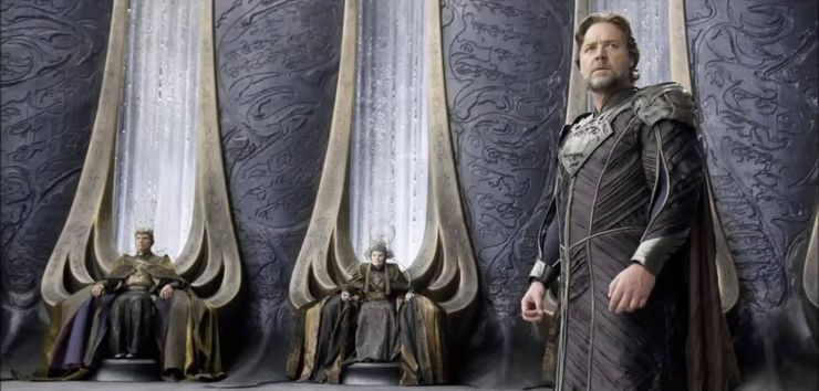 Russel Crowe as Jor-El in Man of Steel