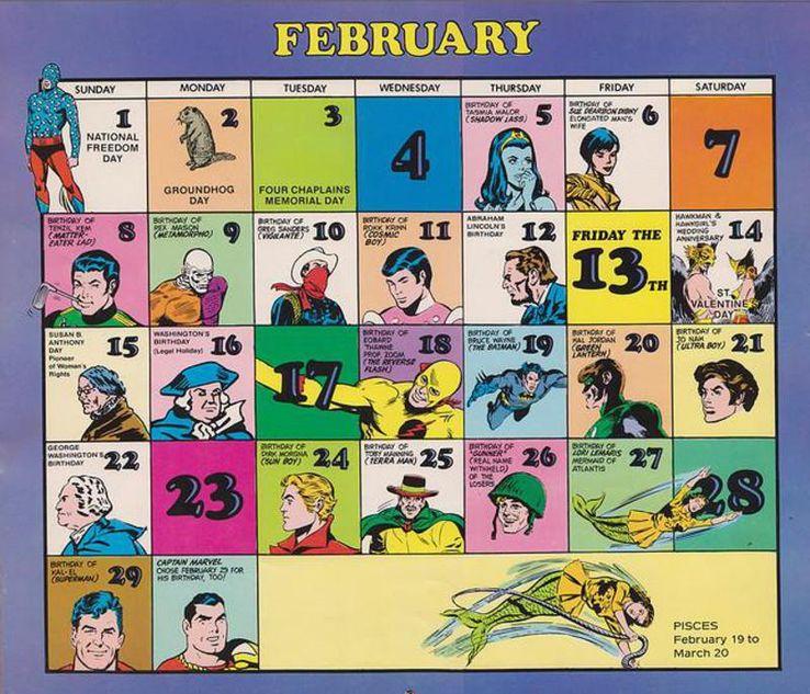 february calendar - Hoy es el cumpleaños de Superman