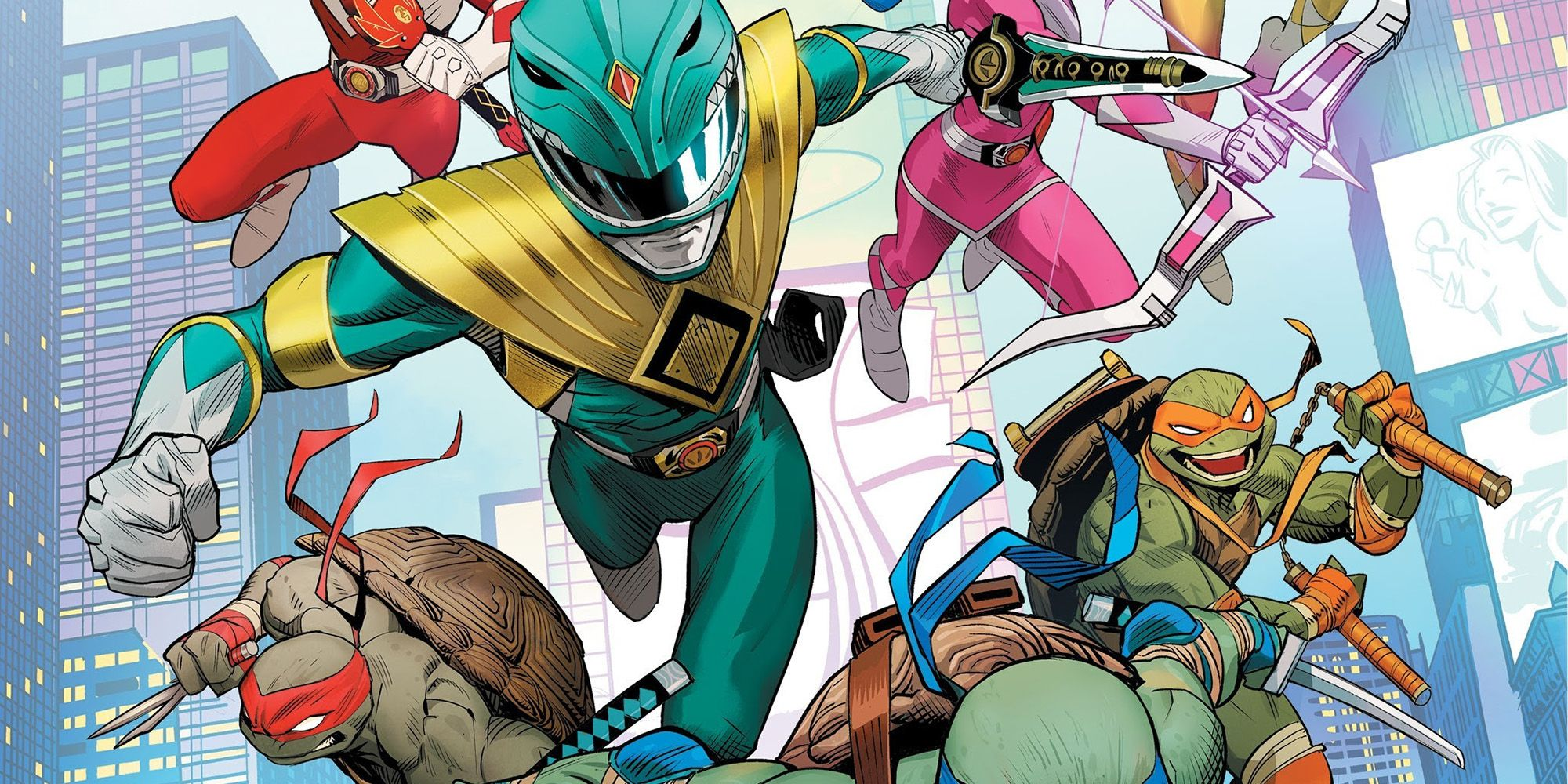 Mighty Morphin Power Rangers Meet TMNT in Crossover First Look